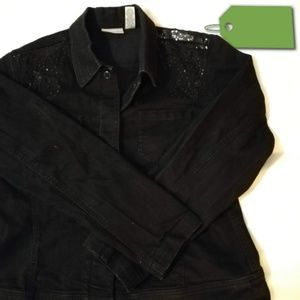 Black Sequin Jean Jacket with Bling by Chicos